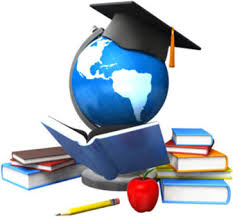 A graphic of the globe wearing a graduation cap reading a book.